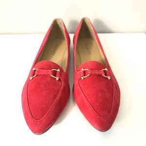 Talbots Pointed Toe Red Suede Leather Loafers Sz 9